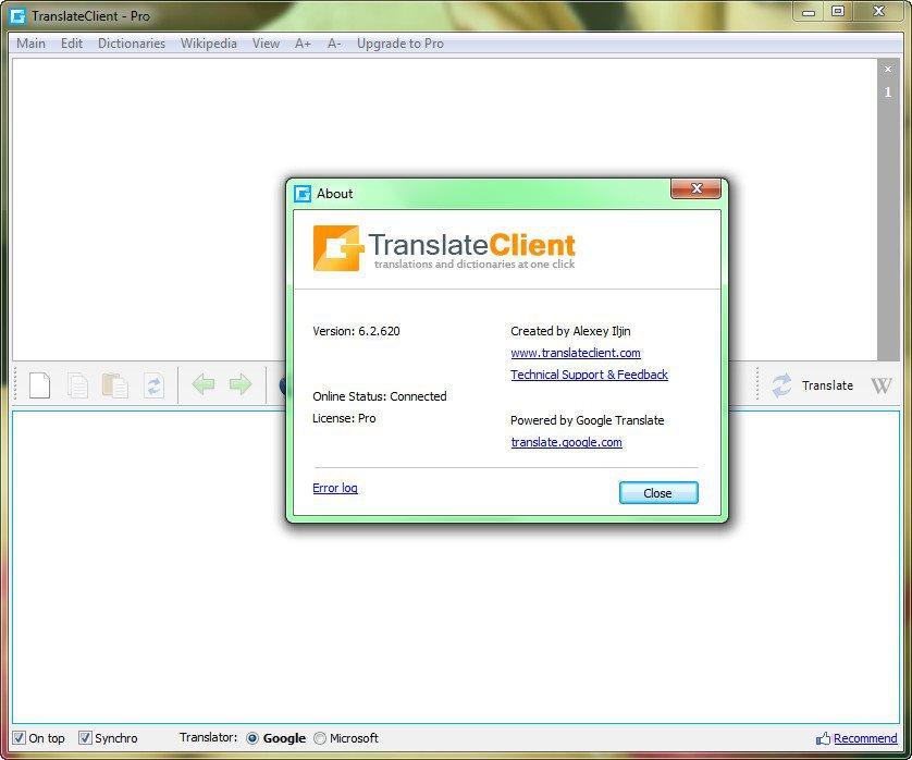 Клиент для Google Translate 6.2.620