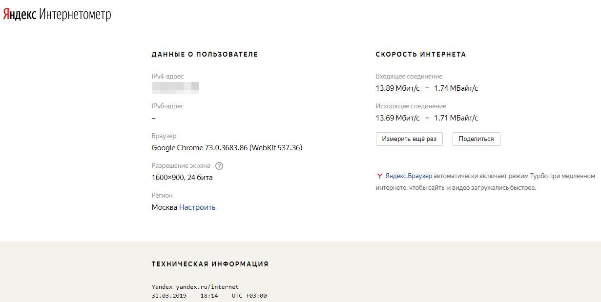 Яндекс.Интернетометр результат