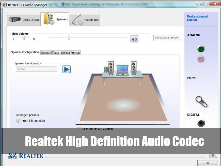 Cкачать бесплатно Realtek High Definition Audio Codecs 2.82