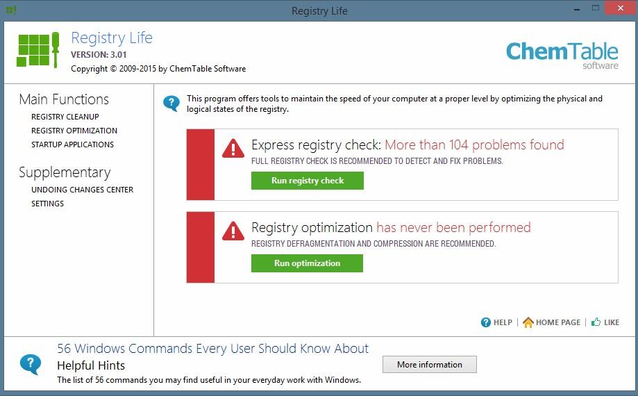 Registry Life 4.22 бесплатная программа оптимизации реестра